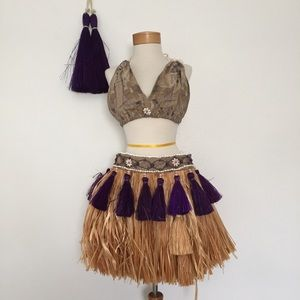 Tahitian Grass Skirt Outfit Costume